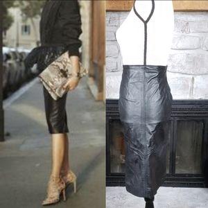 Vtg 80's Chia Black Leather Midi Pencil Skirt 6